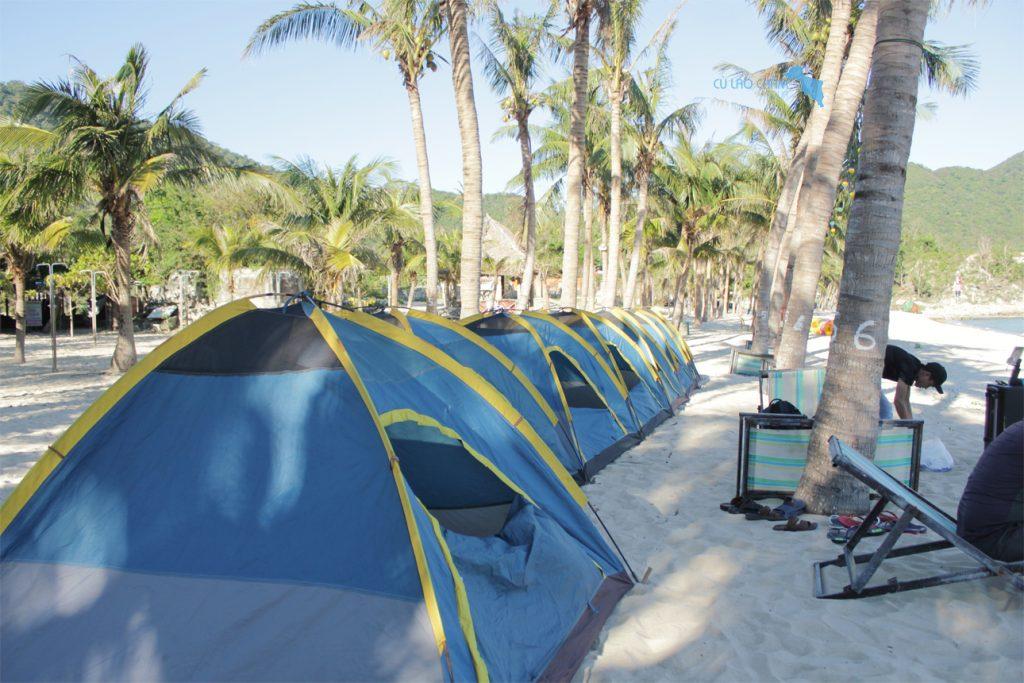Lều du lịch Cù Lao Chàm cắm tại khu sinh thái Bãi Ông