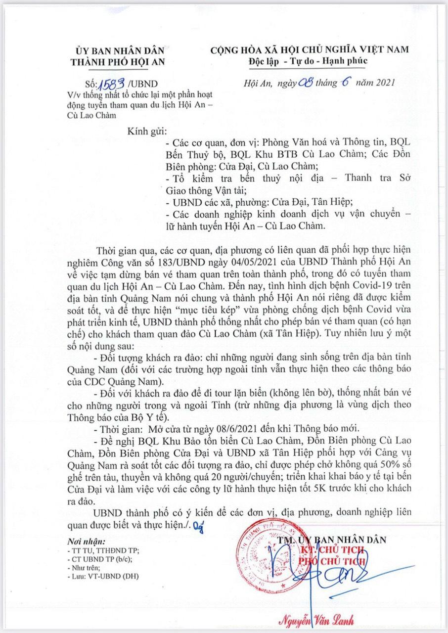 Công văn 1583, Đảo Cù Lao Chàm chính thức đón khách từ ngày 08/06/2021
