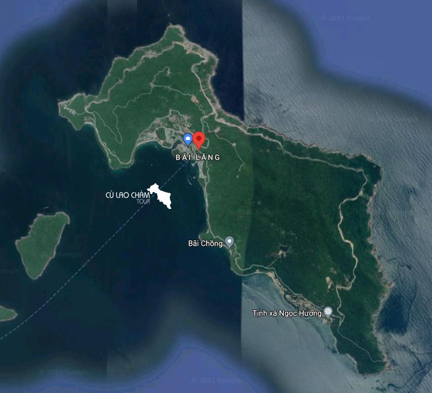 Đảo Hòn Lao chụp từ vệ tinh (ngồn google map)