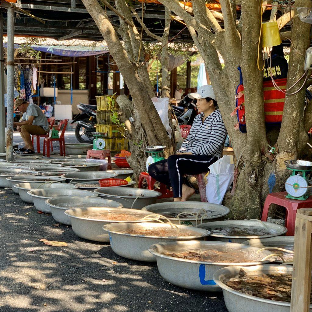 Ngư dân buôn bán tại chợ sản Cù Lao Chàm